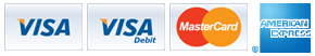 We accept the following cards: Visa, Visa Debit, MasterCard & American Express