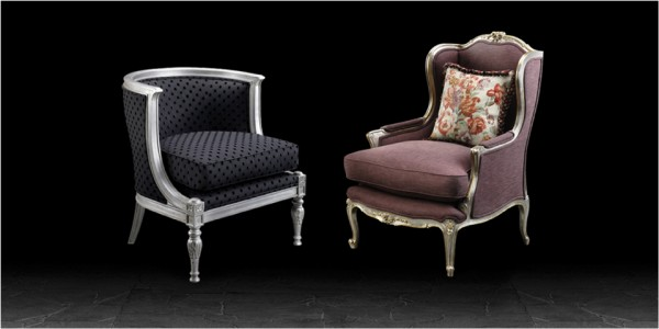 Artistic Upholstery Rosa Chair in Tuff Black fabric & Rosa chair in Purple Velvet fabric