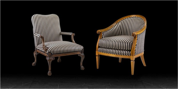 Artistic Upholstery Lorenzo & Leanardo Armchairs in Awning Stripe Black / Camel