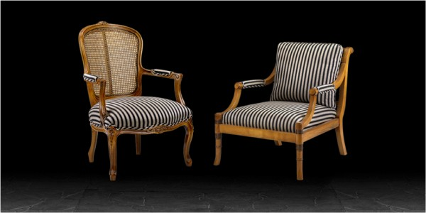 Artistic Upholstery Sienna & Lucca Armchairs in Awning Stripe Black / Camel