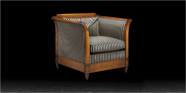 Artistic Upholstery Verona Large Armchair in Awning Stripe Black / Camel