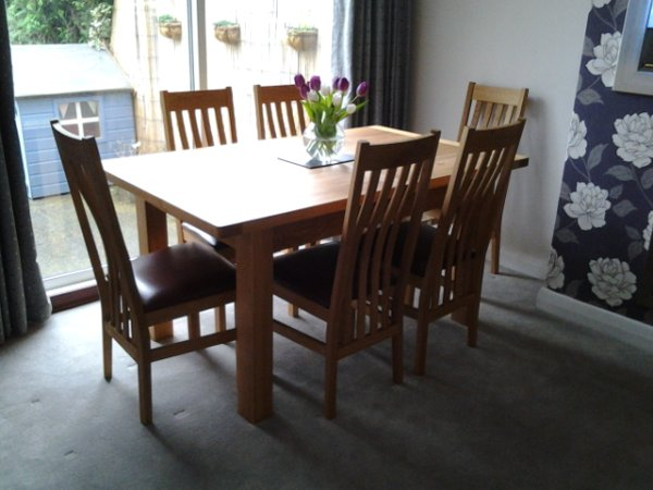 Charltons Bretagne 1600 Extending Dining Table & Farrington Dining Chairs in the Satin Lacquered finish in a customer's home