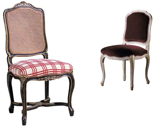 Collinet Sieges Style Cane Louis XV Dining Chair (304D) on the left and the Louis XV Dining Chair (500) on the right