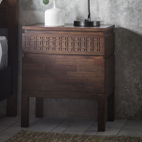 Gallery Direct Boho Retreat Contemporary 2 Drawer Bedside Chest
