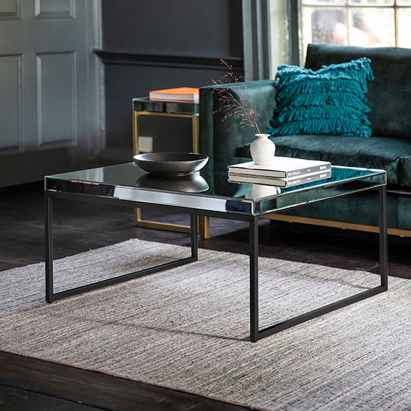 Gallery Direct Pippard Black Contemporary Coffee Table & Pippard Champagne Contemporary Side Table