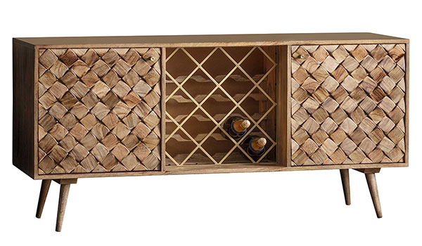 Gallery Direct Tuscany Burnt Wax Contemporary Sideboard with Wine Rack