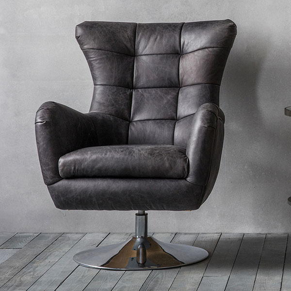 Gallery Direct Bristol swivel chair this time shown in antique ebony leather