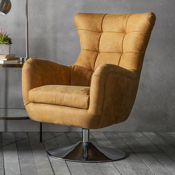 Gallery Direct Bristol Leather Swivel Chair shown here in Tan Saddle leather