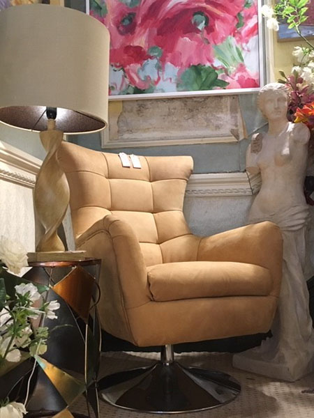 in Saddle Tan Leather on display in our Southport furniture showrooms