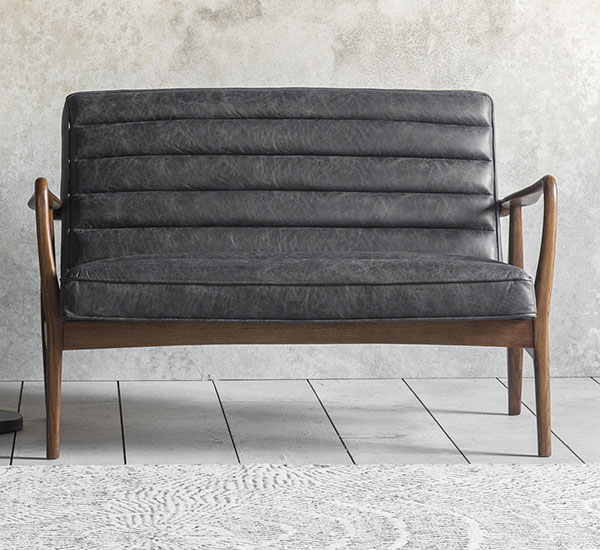 Gallery Direct Datsun 2 Seater Antique Ebony Leather Sofa