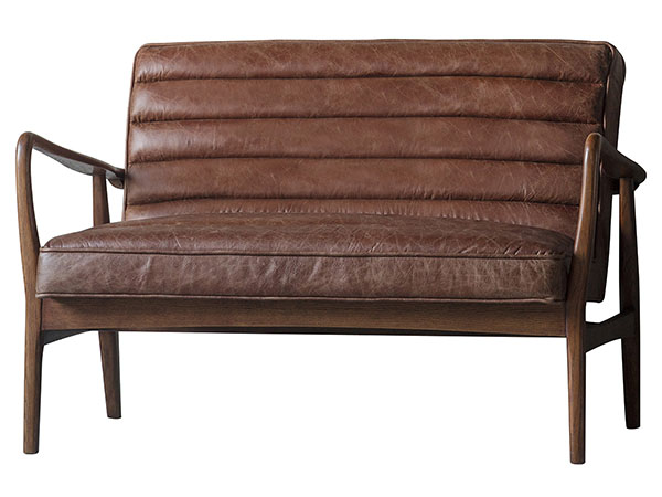 Gallery Direct Datsun 2 seater leather sofa shown here in vintage brown leather