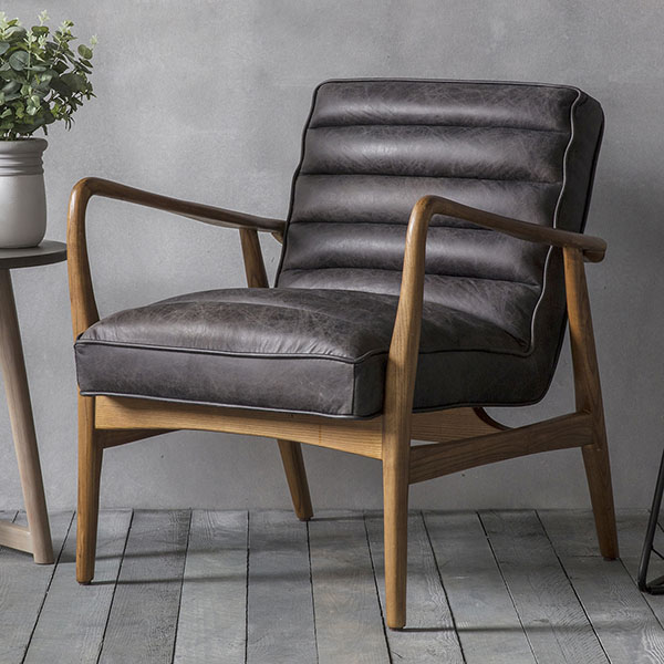 Gallery Direct Datsun Antique Ebony Leather Armchair