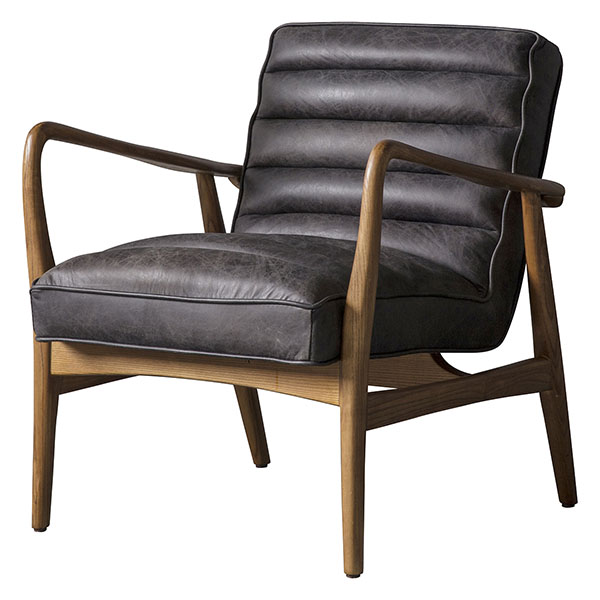 Gallery Direct Datsun leather armchair shown here in antique ebony leather