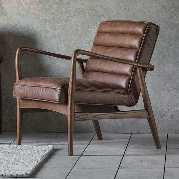 Gallery Direct Datsun Vintage Brown Leather Armchair