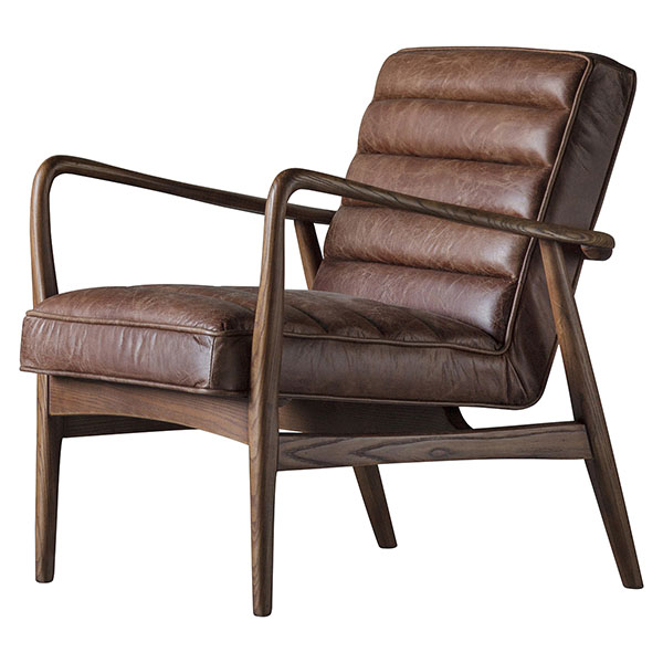 Gallery Direct Datsun leather armchair shown here in vintage brown leather