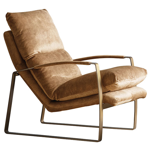 Gallery Direct Fabien leather armchair shown here in the ochre leather finish