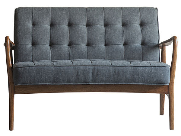 Gallery Direct Humber 2 seater leather sofa shown here in the dark grey linen finish