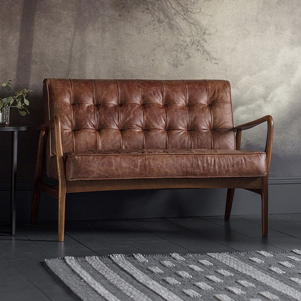 Gallery Direct Humber 2 Seater Vintage Brown Leather Sofa