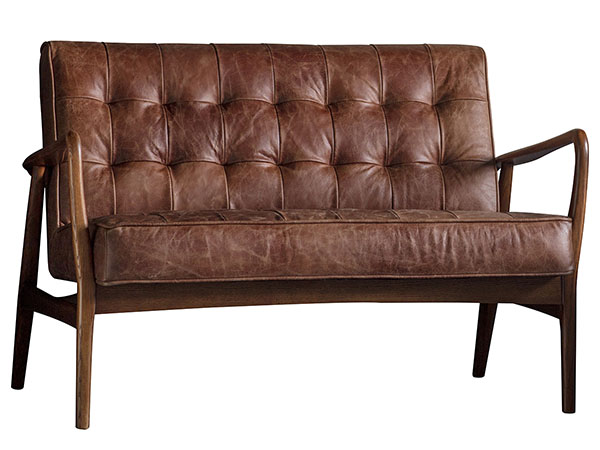 Gallery Direct Humber 2 seater leather sofa shown here in the vintage brown leather finish