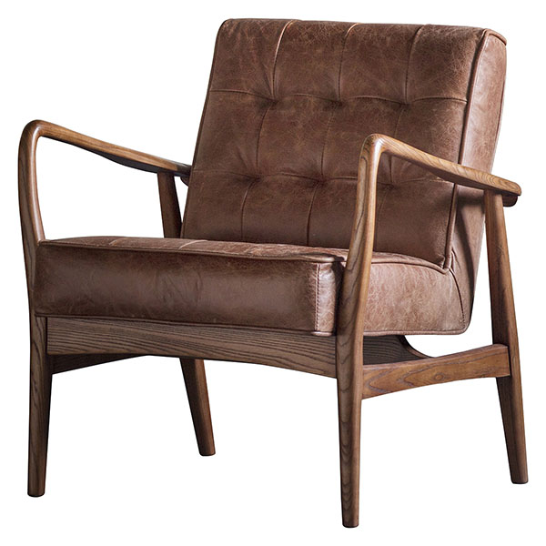 Gallery Direct Humber armchair shown here in the vintage brown leather finish