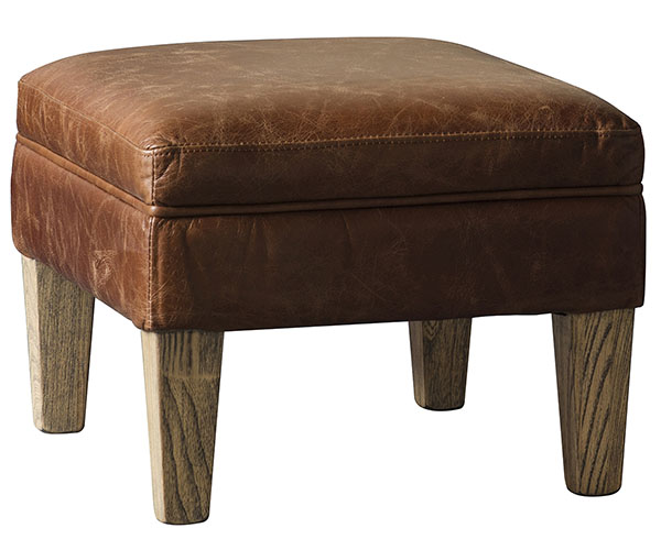 Gallery Direct Mr Paddington leather footstool shown here in vintage brown leather