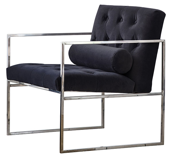 Gallery Direct Sergio armchair shown here in jet velvet finish
