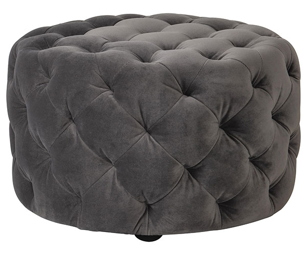 Gallery Direct contemporary Sergio round velvet footstool shown here in the mirage velvet finish