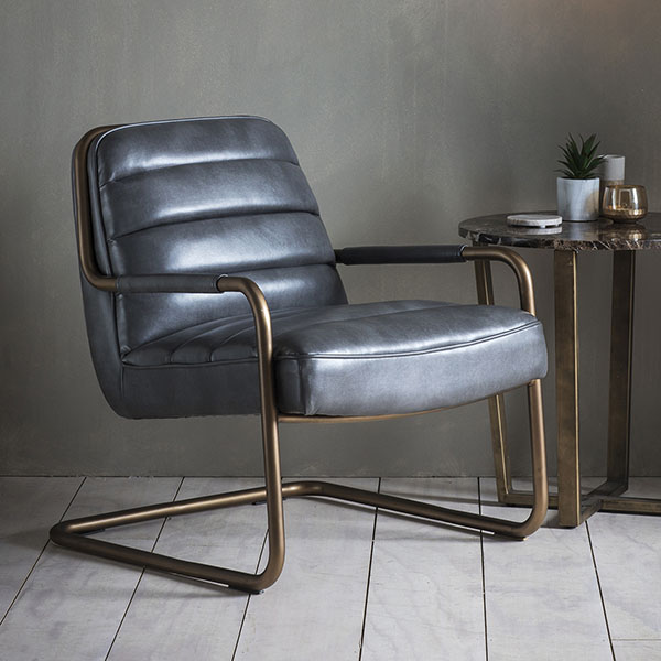 Gallery Direct Soho Pewter Leather Lounge Chair