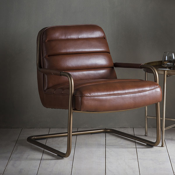 Gallery Direct Soho Matt Saddle Leather Lounge Chair