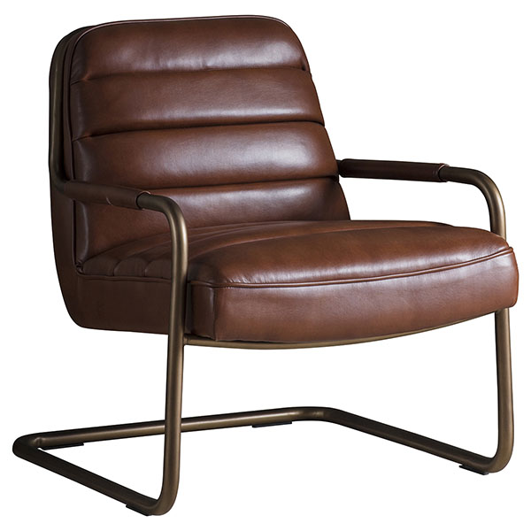 Gallery Direct Soho lounge chair shown here in the matt saddle leather finish