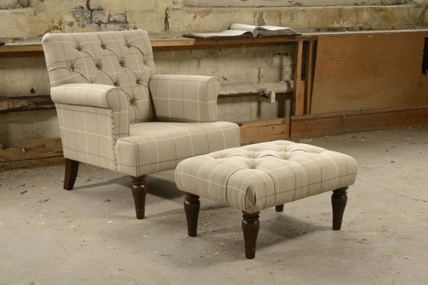 The Contrast Upholstery Evesham Chair & Footstool by Tetrad