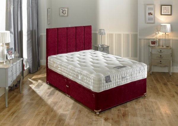 Hampton Bed Company Heritage Collection Pocket Spring Bed - Knightsbridge 1500 Divan Bed with a Cambridge Floor Standing Headboard