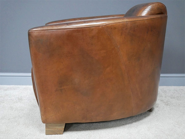Brazilian Brown Leather Cigar Chair - Side image view