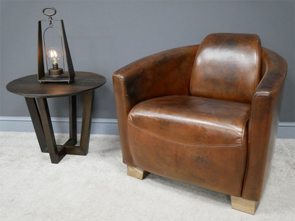 Brazilian Brown Leather Cigar Chair
