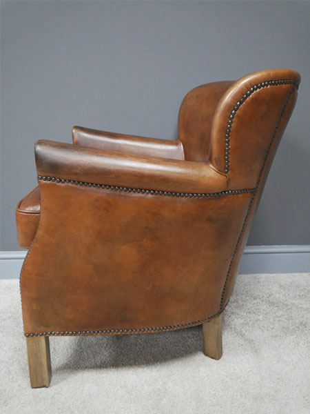Brazilian Brown Leather Cosy Chair - Side image view