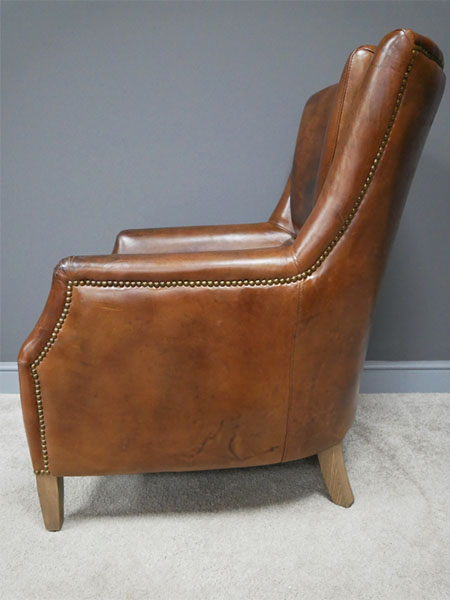 Brazilian Brown Leather Reading Chair - Side image view