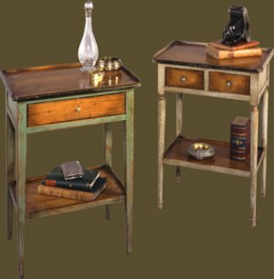 Felix Monge Directoire 1 Drawer and Louis Philippe 2 Drawer Glass of Water Tables