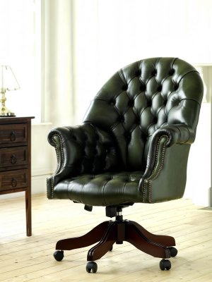 The Sofa Collection Vintage Leather Directors Swivel Chair by Forest Sofa