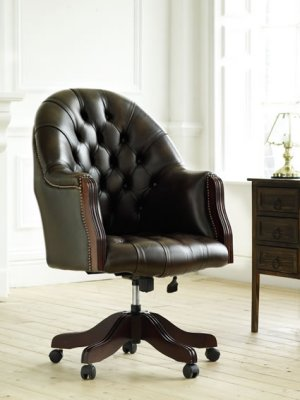 The Sofa Collection Vintage Leather Executive Swivel Chair by Forest Sofa
