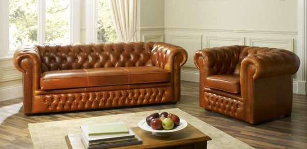 The Sofa Collection Hampton Vintage Leather Chesterfield Sofa & Chair by Forest Sofa