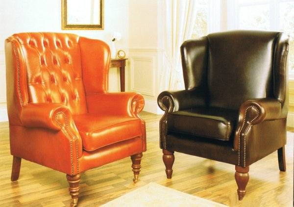 The Sofa Collection Vintage Leather Douglas and Regency Chairs by Forest Sofa