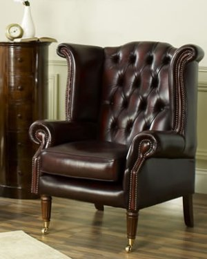 The Sofa Collection Scroll Wing Chair Vintage Leather Chair by Forest Sofa