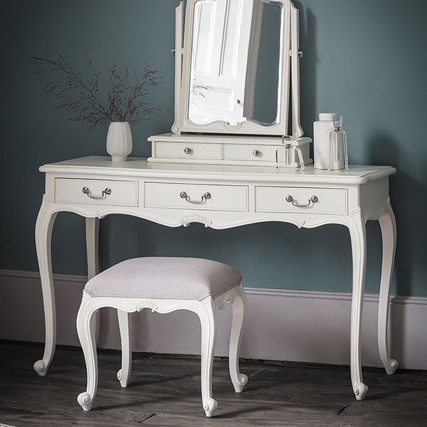 Gallery Direct Chic Vanilla White Dressing Table, Dressing Table Stool & Dressing Table Mirror