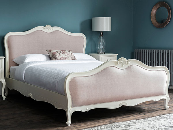 Gallery Direct Chic Vanilla White 5Ft King Size Linen Upholstered Bed