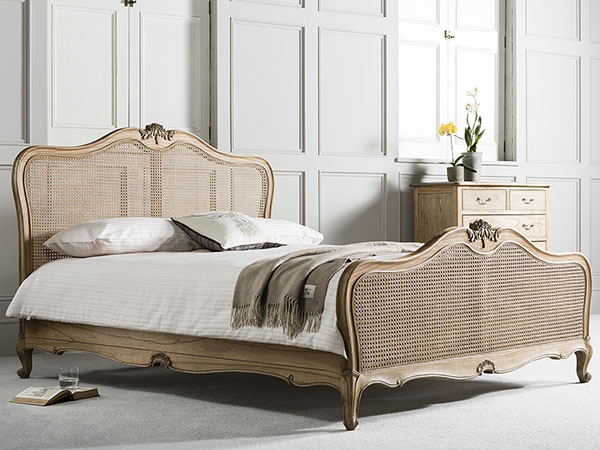 Gallery Direct Chic Weathered 5Ft King Size Cane Bed & 5 Drawer Chest of Drawers