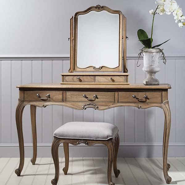 Gallery Direct Chic Weathered Dressing Table, Dressing Table Stool & Dressing Table Mirror