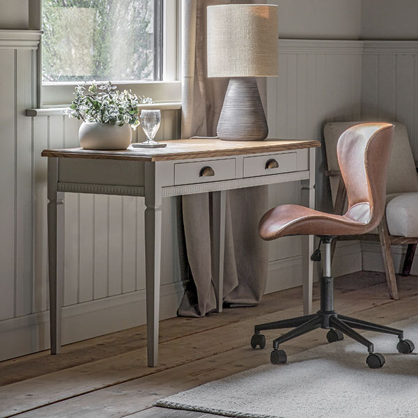 Gallery Direct Bronte Taupe Desk & Mendel Brown Swivel Chair