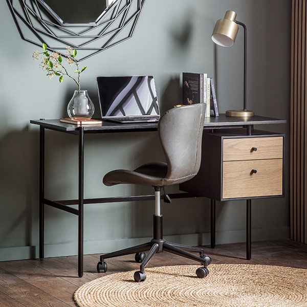 Gallery Direct Carbury 2 Drawer Desk & Charcoal Swivel Chair