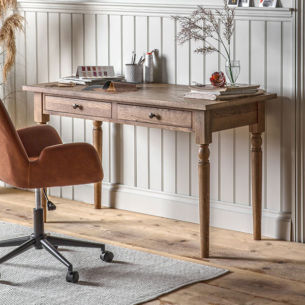Gallery Direct Cookham 2 Drawer Desk & Faraday Brown Swivel Chair