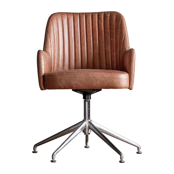 Gallery Direct Curie Vintage Brown Leather Swivel Chair
